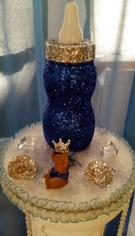 Jumbo Glitter Baby Bottle With Prince Baby Shower