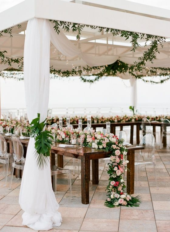 Tropical Florida Wedding On St Pete Beach With Monstera Leaves Galore Ruffled Tropical Florida Wedding Florida Wedding Wedding Trends