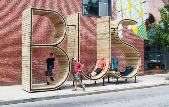 Playful Typography Sculpture Makes Waiting for the Bus More Fun - My Modern Met