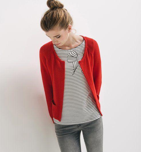 gilet ouvert femme rouge promod chalecos pinterest gilets rouge et rouge. Black Bedroom Furniture Sets. Home Design Ideas