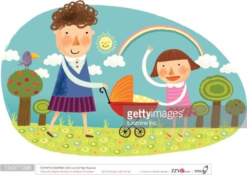 girl with baby carriage illustration - Поиск в Google
