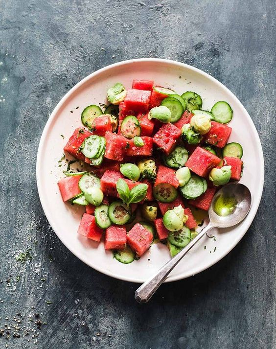 Cucumber Avocado Watermelon Salad