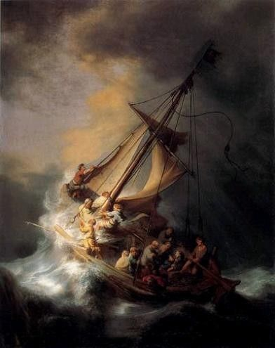 A Classical Art oil painting for sale of The Storm on the Sea of Galilee by Rembrandt Van Rijn.   A real Oil on canvas painting only at http://www.judaica-art.com