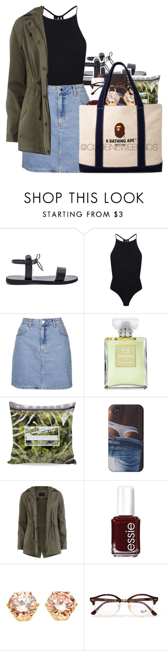 """4/20/16 - Happy 4/20"" by codeineweeknds ❤ liked on Polyvore featuring Isapera, Topshop, Chanel, Dorothy Perkins, Essie, Ray-Ban and A BATHING APE"