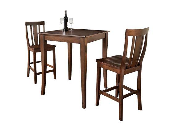 Crosley 3 Piece Pub Dining Set - Vintage Mahogany Finish
