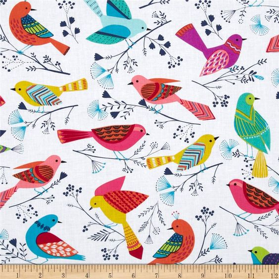 Michael Miller Flock Birds White from @fabricdotcom  From Michael Miller, this cotton print is perfect for quilting, apparel and home decor accents.  Colors include white, aqua, navy, pink, orange, yellow, green, purple and yellow.