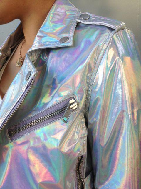 Holographic jacket with disco pants and Jeffrey Campbell Coltranes. #hologram #jacket #fallfashion