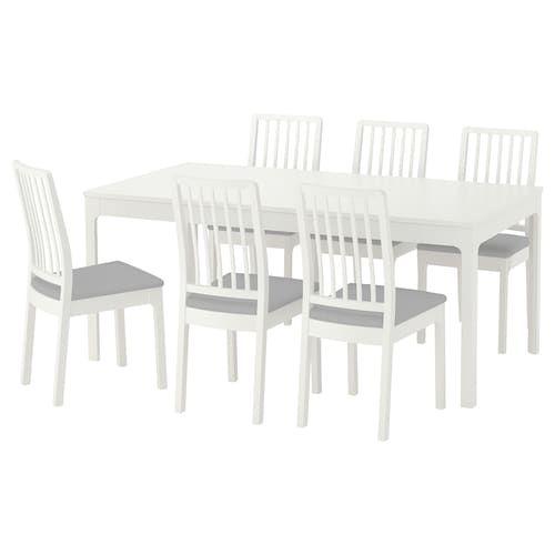 EKEDALEN Tisch und 6 Stühle weißOrrsta hellgrau IKEA
