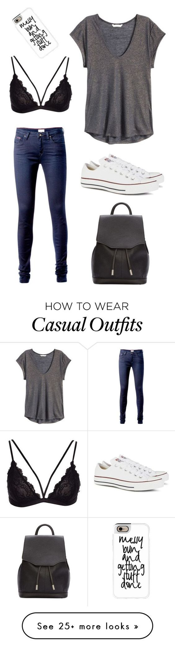 """Casual"" by caro-stegherr on Polyvore featuring Tommy Hilfiger, H&M, Converse, Casetify and rag & bone"