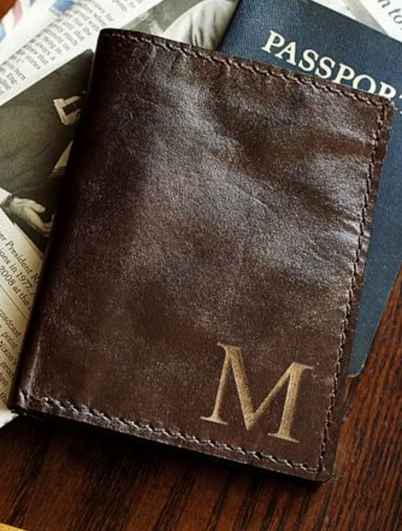 Saddle Leather Monogrammed Passport Holder