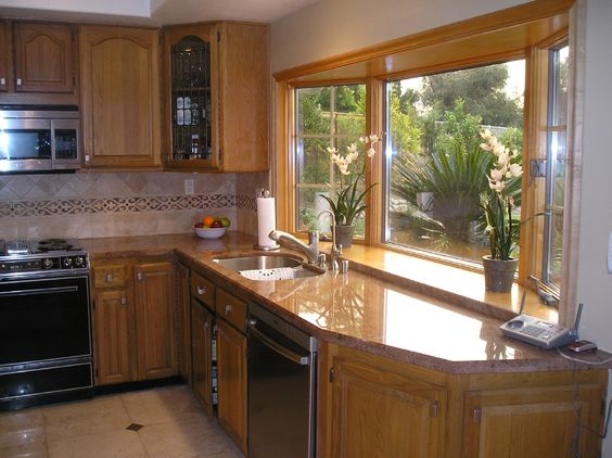 Kitche Bay Windows View From One Of 2 Anderson Bay Windows In Kitchen Home Pinterest