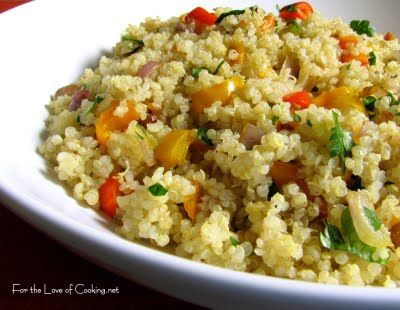 Quinoa and Caramelized Red Onion, Bell Peppers and Garlic:
