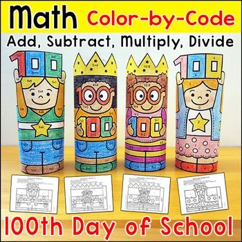 100th Day of School Math Color by Code 3D Characters: Practice number matching…: