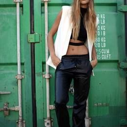Fifth Estate White Suede Lightweight Vest, leather joggers and black crop