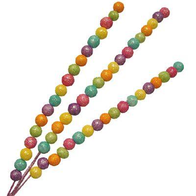 "Glitter Bead Spike Spray Green, Yellow, Orange, Lavender, Blue, Pink 24-25"" Styrofoam, Wire Glittered Beads approximately 3/4"" in diameter. Foil covered stem. www.trendytree.com $2.99"