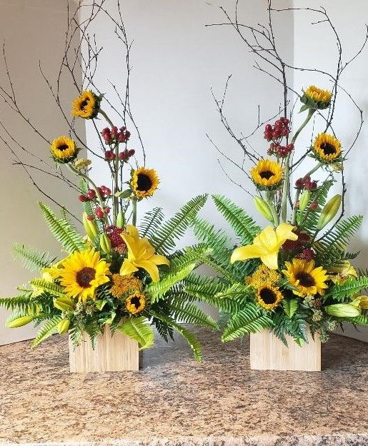 Pin By Zaiser S Florist Greenhouse On Sympathy Flowers Church Flower Arrangements Fresh Flowers Arrangements Sunflower Arrangements
