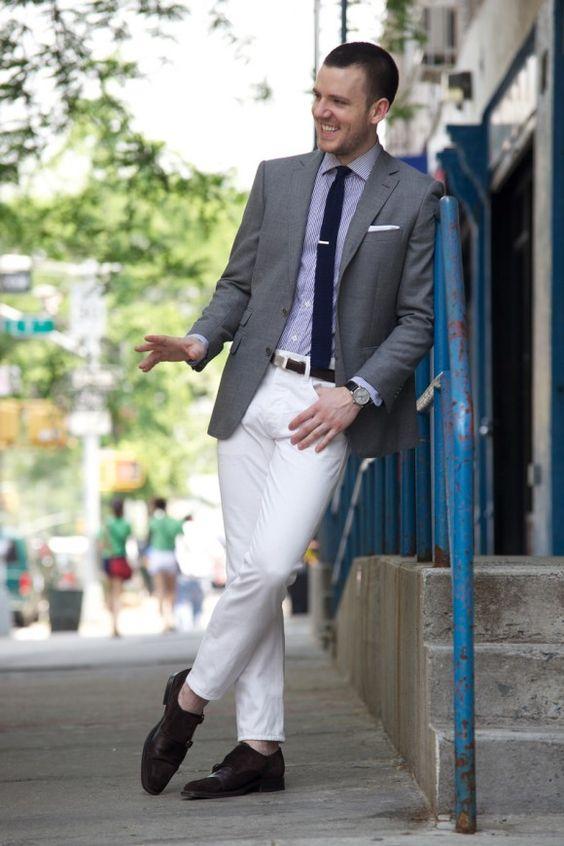 Purple shirt, gray jacket, White Pants