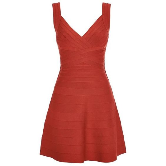 Herve Leger Nastya Dress (€1.685) ❤ liked on Polyvore featuring dresses, red bandage dress, red fit and flare dress, surplice dress, v neck bandage dress and red party dresses