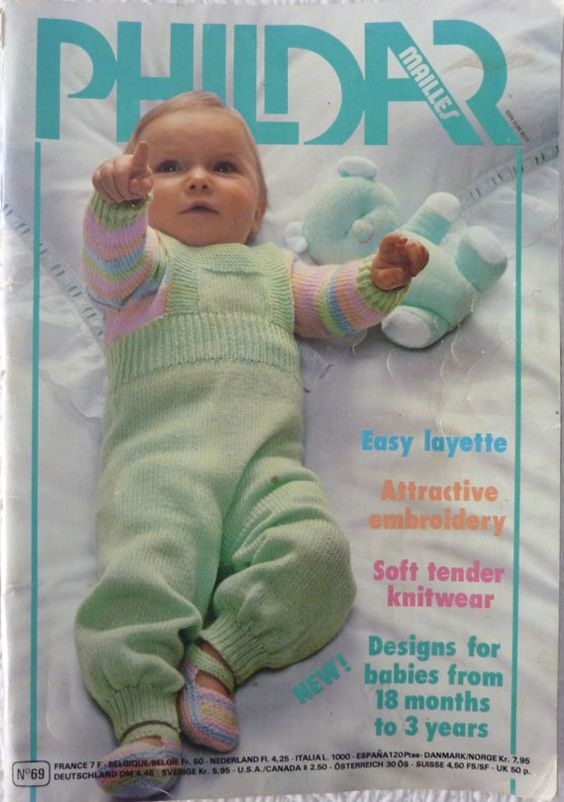 Knitting Pattern Books : Phildar Knitting & Crochet Pattern Book - Baby Layette - Knitwear ...