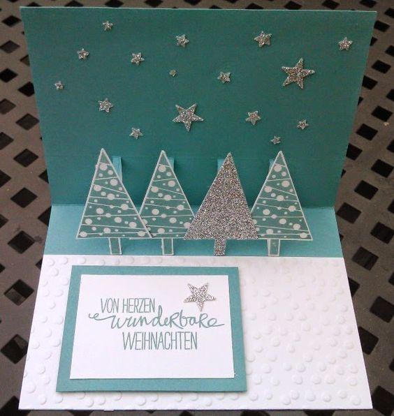 Pop-up-Weihnachtskarte mit Tannenb�umen