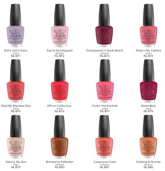 opi south beach collection color chart - Opi Gel Color Chart