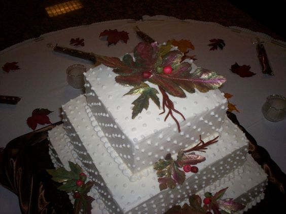 Butter cream frosting with hand made milk chocolate leaves