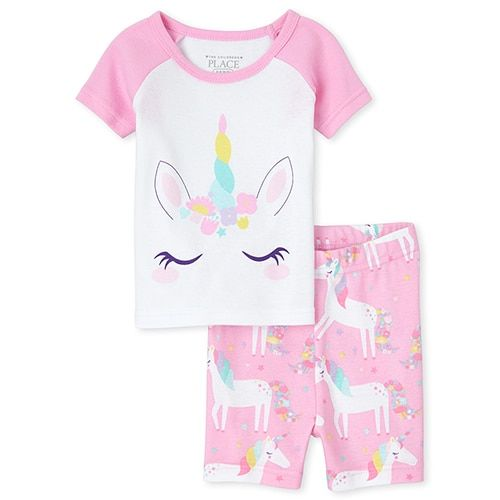 The Childrens Place Girls Baby and Toddler Rainbow Unicorn Snug Fit Cotton One Piece Pajamas