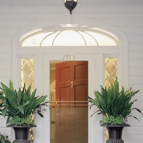 Great flower planters front porch entrance shade loving for Potted plants by front door