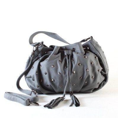 Ladies Stylish Studded Shoulder Bag / Handbag Grey £29.95