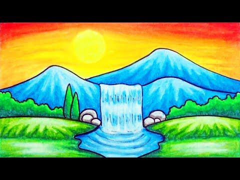 How To Draw Easy Scenery Youtube With Images Oil Pastel