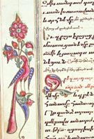Peacocks often were depicted in illuminations of medieval Armenian manuscripts. This brightly colored example is one of many artistic devices placed in the margins of another missal, also copied in 1722 and owned by the Library.