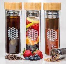 Bpa free glass tea infuser bottle /Soft drink glass bottle/Glass bottle with tea strainer