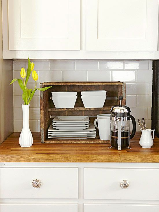 Dreary To Bright Kitchen Makeover Wooden Crate Kitchen Storage Wooden Crates Kitchen Kitchen Storage Units