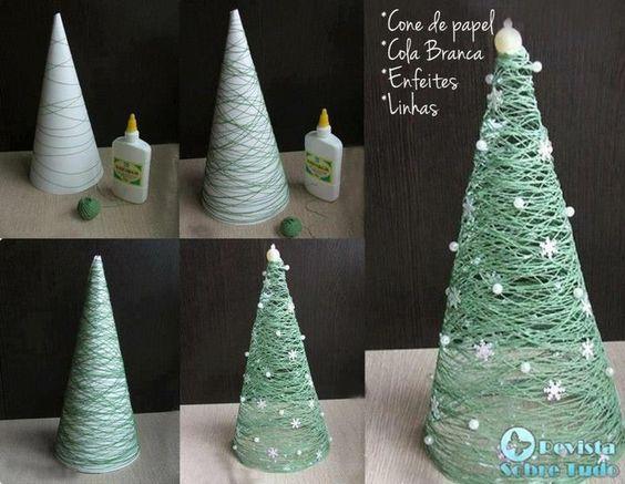 - Cone de papel  - Cola branca  - Enfeites   - Linha