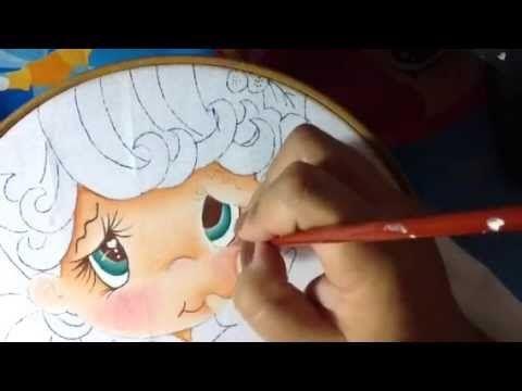 Pintura en tela niña campana # 1 con cony - YouTube