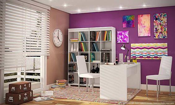 Conjunto Home Office com Mesa, 2 Cadeiras e Estantes Branco - Caaza