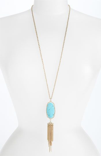 Kendra Scott 'Rayne' Stone Tassel Pendant Necklace | Nordstrom - if I wear kimono dress...