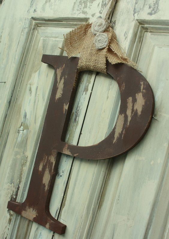 Door Initial Monogram Shabby chic style You choose color and letter. $36.00, via Etsy.