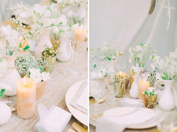 Tischdeko F R Eine Hochzeit In Wei Gold Grau Und Beige
