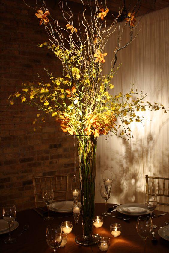 Tall centerpiece idea for loft style reception