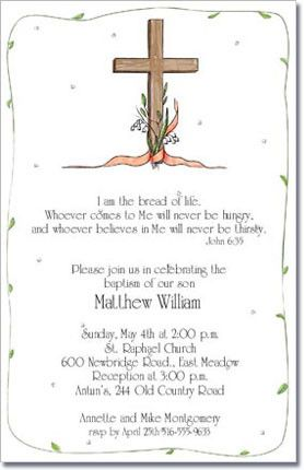 This+invitation+features+a+wooden+cross+wrapped+with+a+peach...