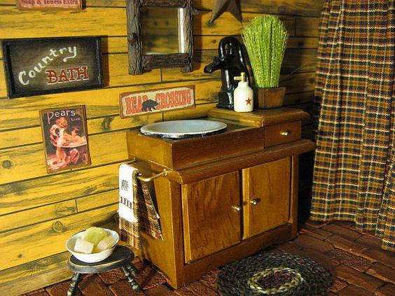 Miniature Log Cabin BATHROOM Rustic  Dollhouse by miniaturecabindecor, via Flickr