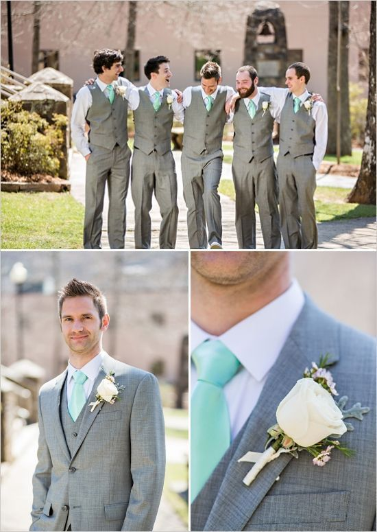 grey suits, white rose boutonniere by Occasions by Emily, Photographer Sarah Rominger