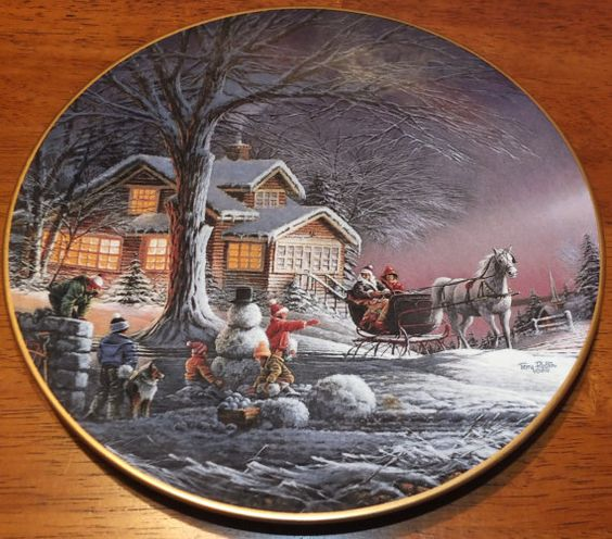 Winter Wonderland  Terry Redlin Plate by MoonbearConnections