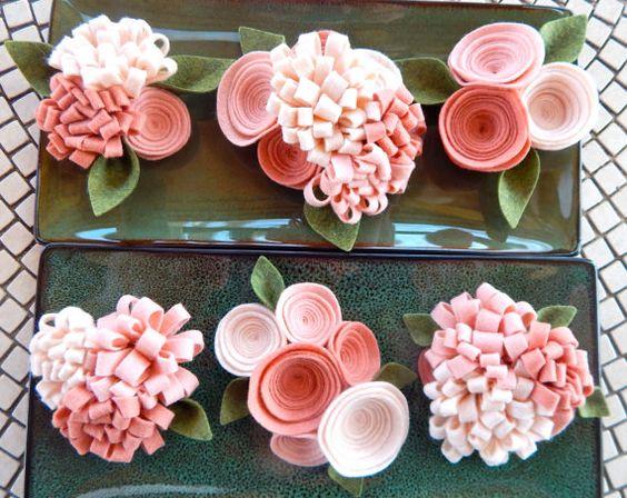 Felt Flowers-Wool Felt Flowers-Flower by TheBeautifulDoor on Etsy