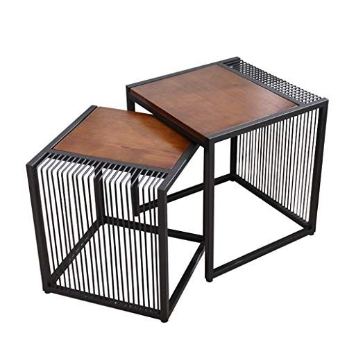 Wrought Iron Side Table Combination Hollow Design Wooden