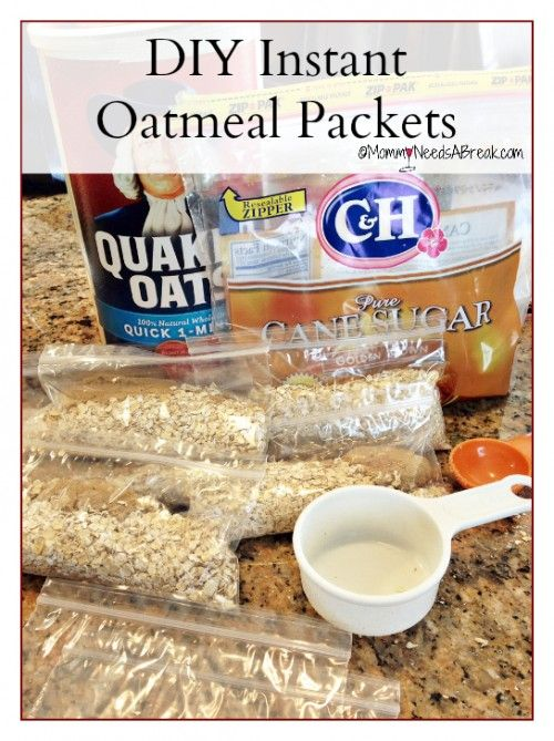 How to Make Your Own Instant Oatmeal Packets - Take 1/2 cup Oats, 1-2 tablespoons of brown sugar, put them in a snack sized bag and zip it up. Really. It's that easy! You can add dried fruit, cinnamon, chocolate chips, whatever you love in your oatmeal. When you are ready to cook them, empty the packet into a bowl, add 3/4 cup of water or milk and microwave on high for 1 minute. Simple as that!: