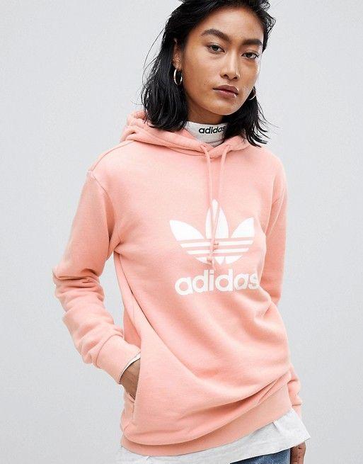 adidas Originals Trefoil Oversized Hoodie In Pink   Hoodies