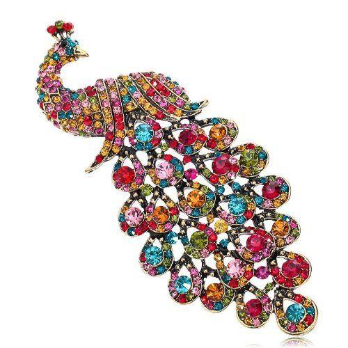 Arinna Alluring Peacock Brooch Pin Swarovski Elements Crystals Arinna. $21.98