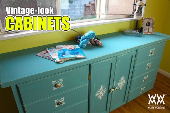 awesome vintage look DIY cabinets! Love the stencils!